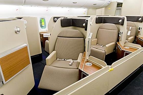 Qantas first class cabin