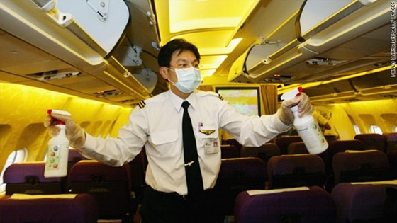 germs in airplanes
